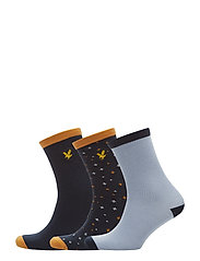 Design & Solid 3 Pair Socks - STONEWASH BLUE