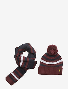 Stripe Beanie and Scarf Set - Écharpes - claret jug