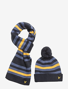 Stripe Beanie and Scarf Set - DEEP INDIGO