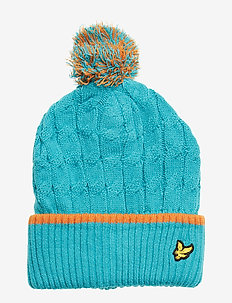 Knitted Beanie with Bobble - LAKE BLUE