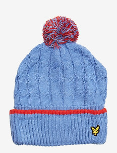 Knitted Beanie with Bobble - SKY BLUE
