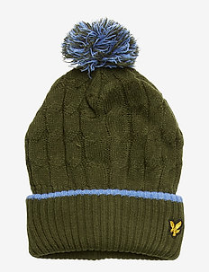 Knitted Beanie with Bobble - WOODLAND GREEN