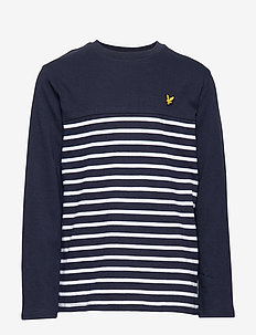Long Sleeve Breton Block Stripe T-Shirt - NAVY BLAZER
