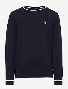 Tipped Crew Neck Jumper - NAVY BLAZER