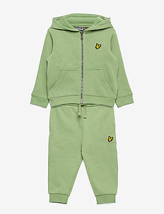Zip Through Hoodie and Jogger Set Chambray Blue - joggedresser - hedge green