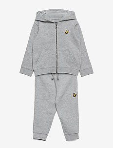 Zip Through Hoodie and Jogger Set Chambray Blue - tracksuits - vintage grey heather