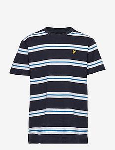Wide Double Stripe T-Shirt Navy Blazer - short-sleeved - navy blazer