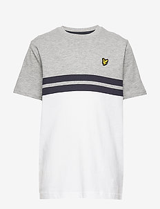 Yoke Stripe T-Shirt Bright White - short-sleeved - vintage grey heather