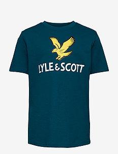 SS Lyle Eagle Logo T-Shirt Bright White - short-sleeved - ink blue