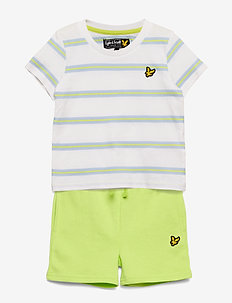 Stripe T-Shirt and Short Set Bright White - 2-piece sets - bright white