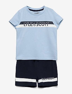 Stripe T-Shirt and Short Set Chambray Blue - 2-piece sets - chambray blue
