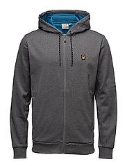 Hill fleece hooded track jacket - MID GREY MARL