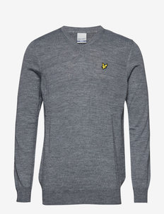 Golf V Neck Pullover - MID GREY MARL