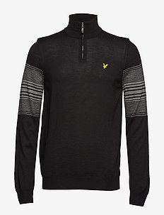 Golf Stripe Quarter Zip Pullover - TRUE BLACK