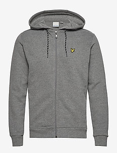 Hooded Full Zip Midlayer - MID GREY MARL