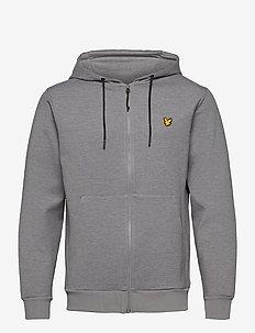 Full Zip Fly Fleece Hoodie - basic-sweatshirts - mid grey marl
