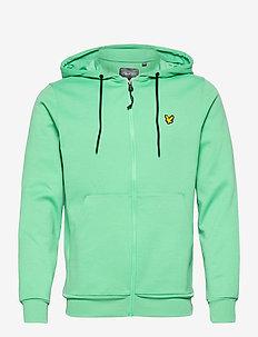 Full Zip Fly Fleece Hoodie - basic-sweatshirts - sea mist
