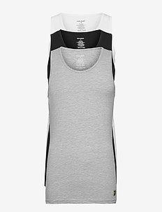AARON - perus t-paidat - bright white- grey marl- black