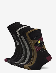 THOMAS - enkelsokken - black/dr olive/argyle/stripe/black/argyle/black/stripe/gr marl/black