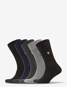 LIAM - regular socks - black/black/peacoat/dg marl/gr marl