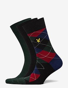 JASPER - normale sokken - black/argyle/pine grove