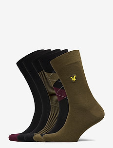 HAROLD - regular socks - argyle/dark olive/stripe/black/black