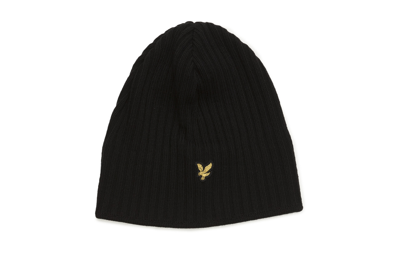 Lyle & Scott Knitted Ribbed Beanie - TRUE BLACK