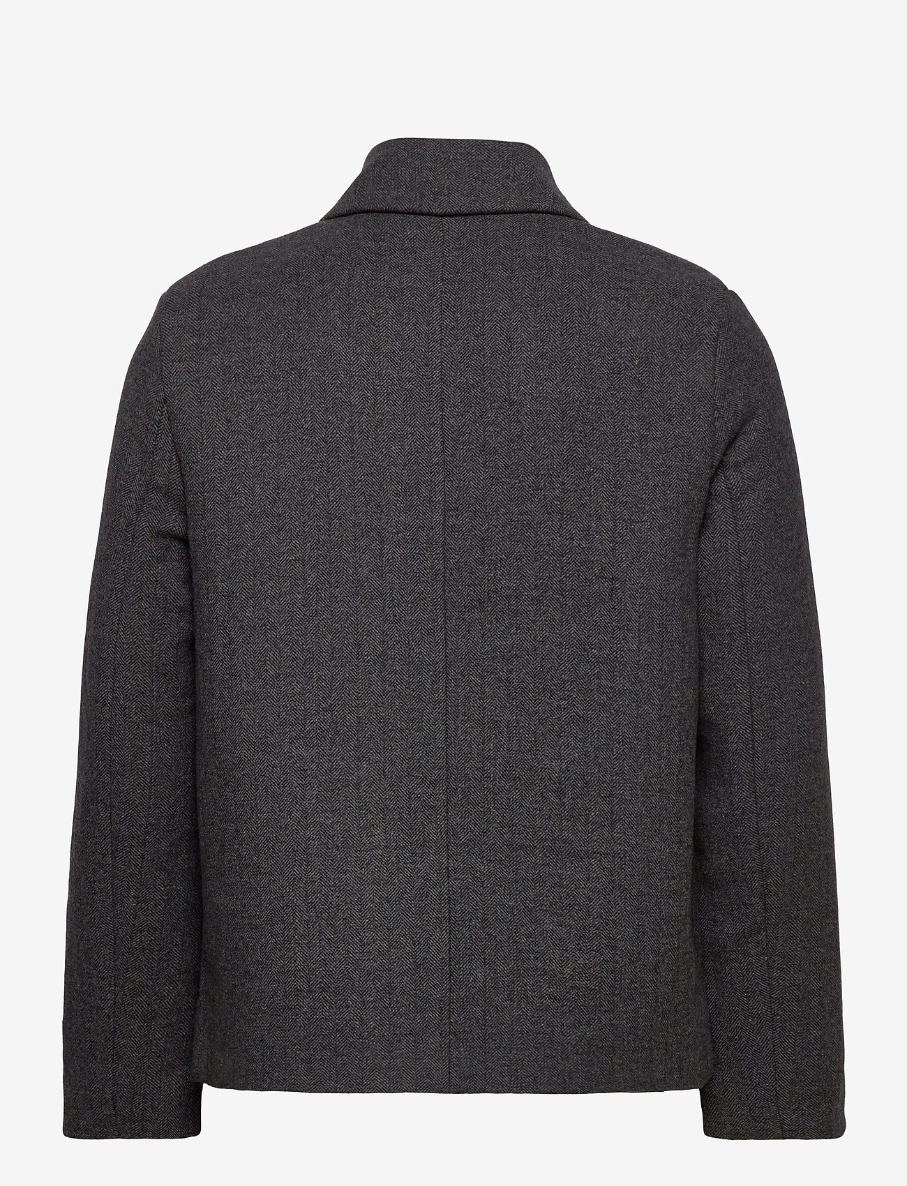 Lyle & Scott - Herringbone Wool Jacket - wool jackets - jet black/ mid grey marl - 1