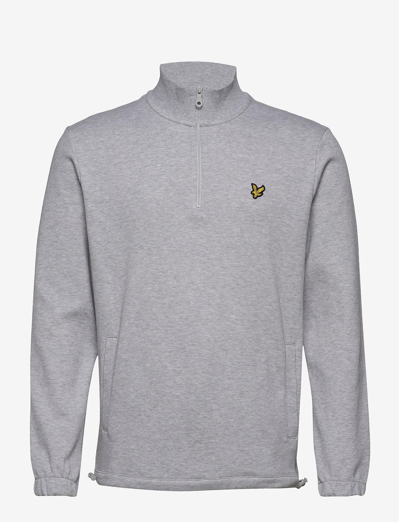 Lyle & Scott - 1/4 Zip Pique Sweatshirt - half zip - light grey marl - 0