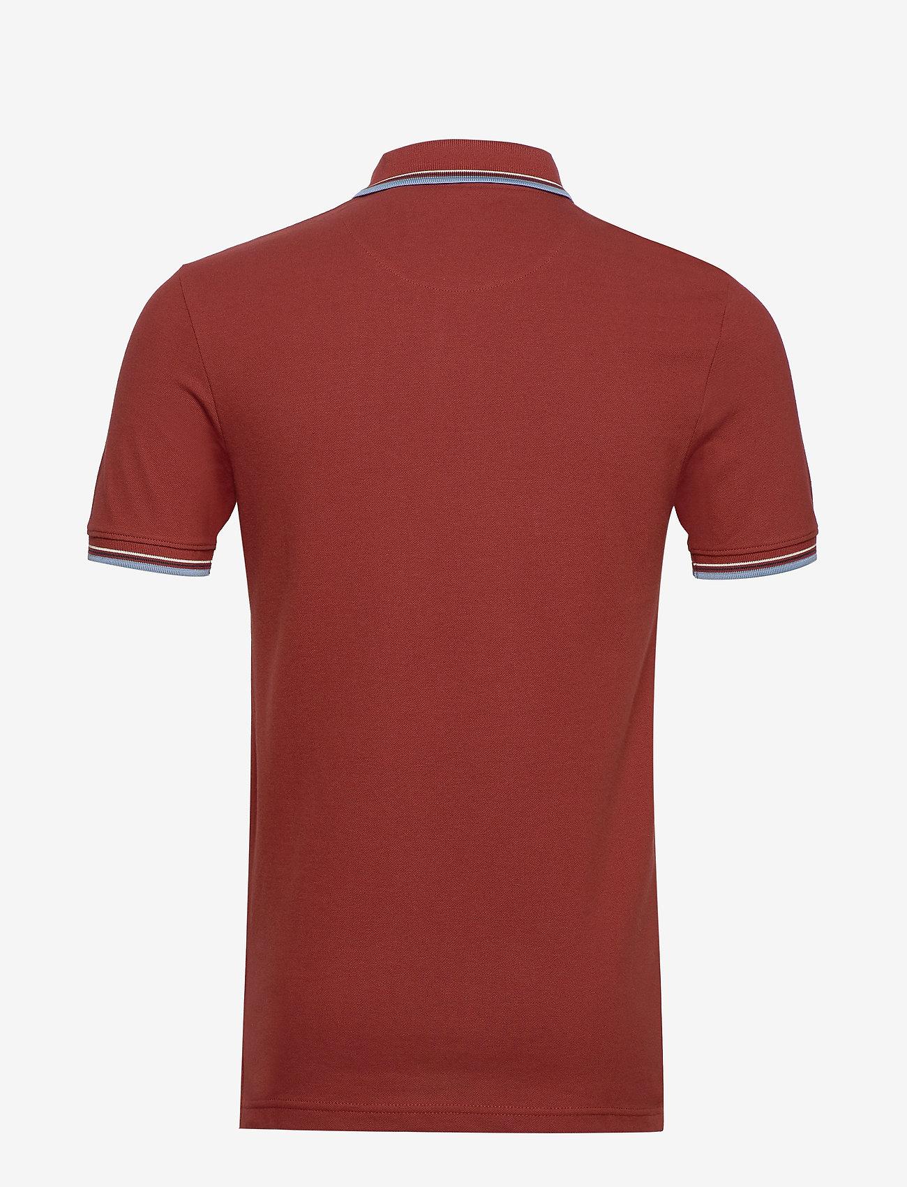Lyle & Scott - Tipped Slim Stretch Polo Shirt - lyhythihaiset - brick red/ blue dust