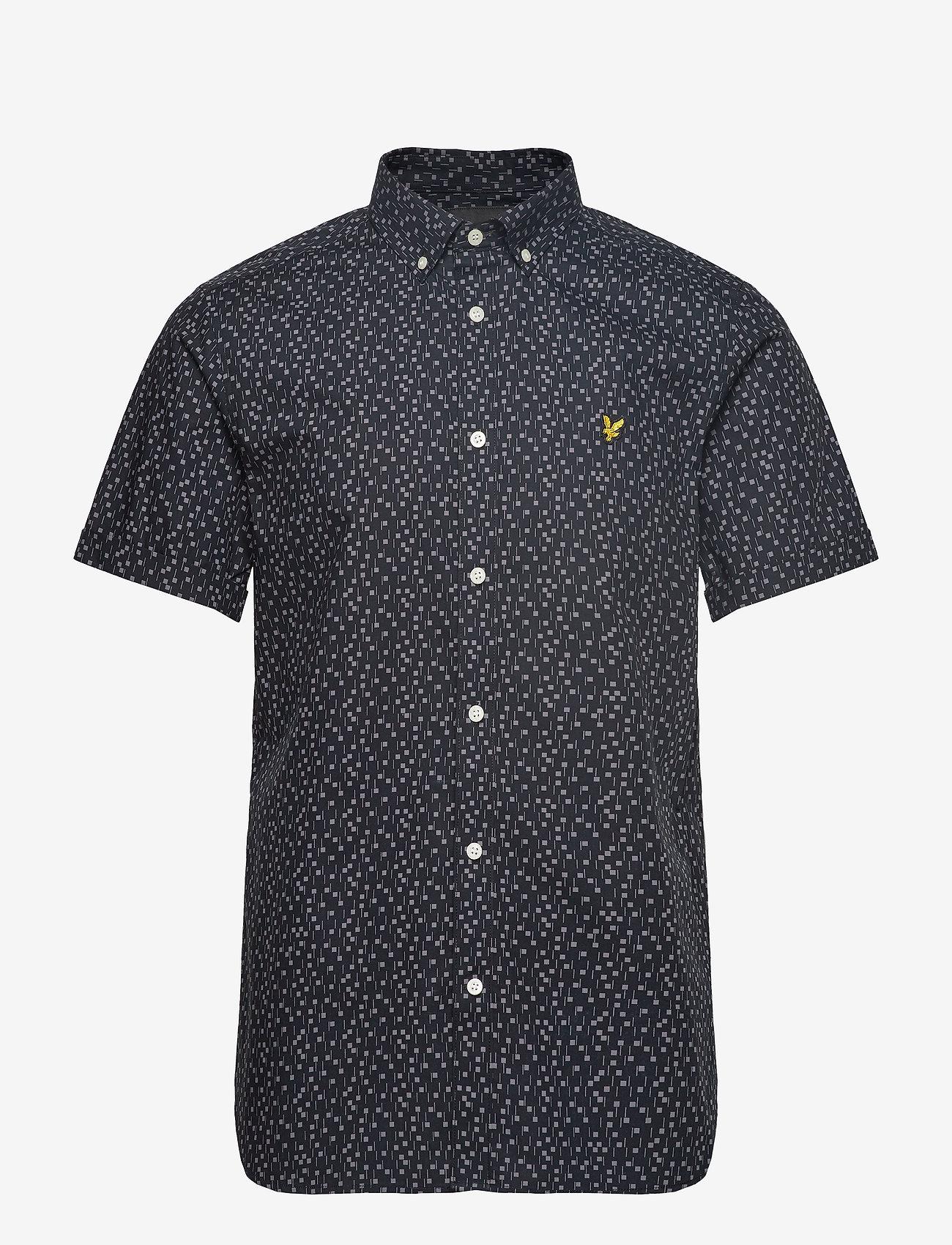 Lyle & Scott - SS Print Shirt - lyhythihaiset paidat - dark navy micro tile print