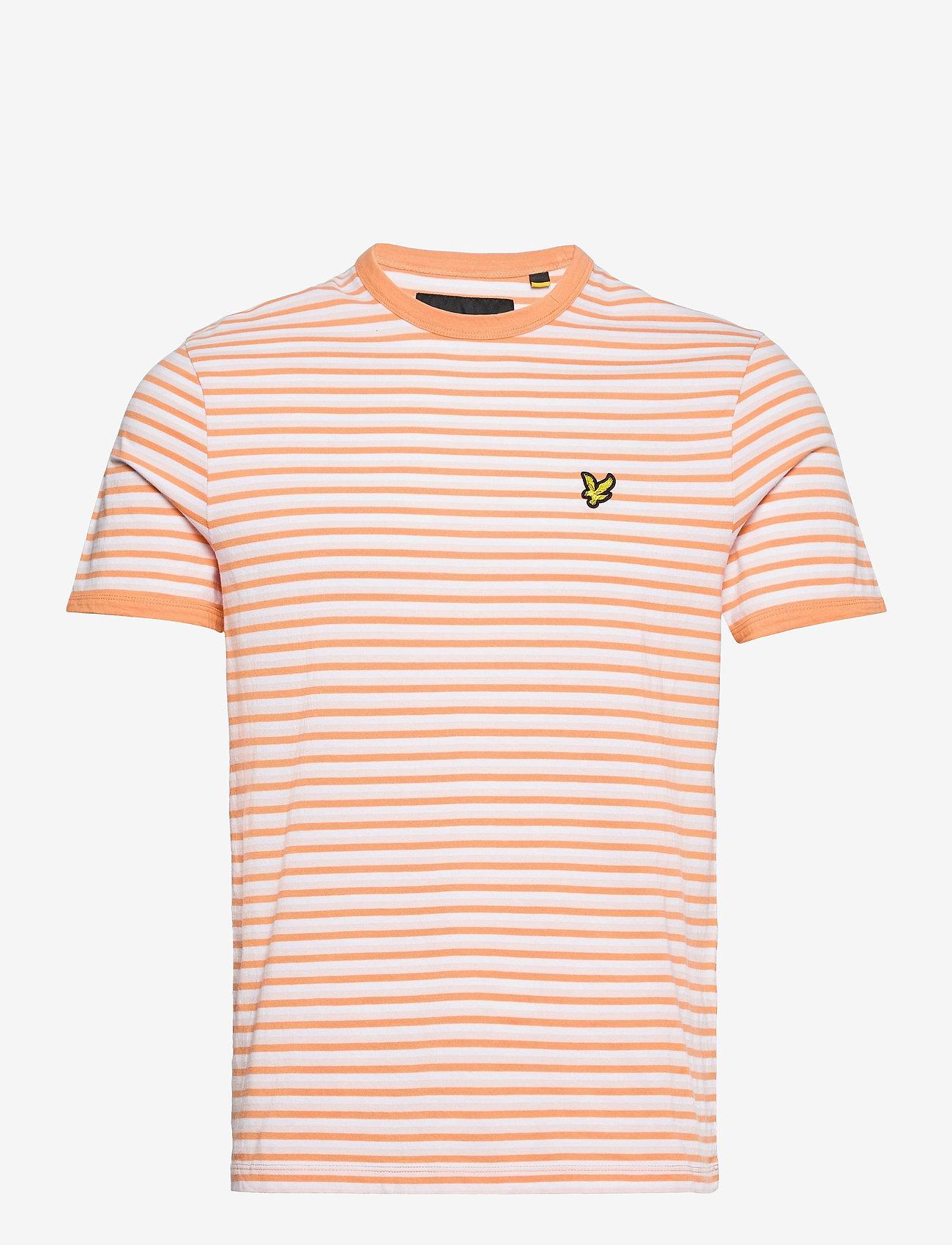 Lyle & Scott - Stripe Ringer T-Shirt - t-shirts à manches courtes - stonewash pink/ melon - 0