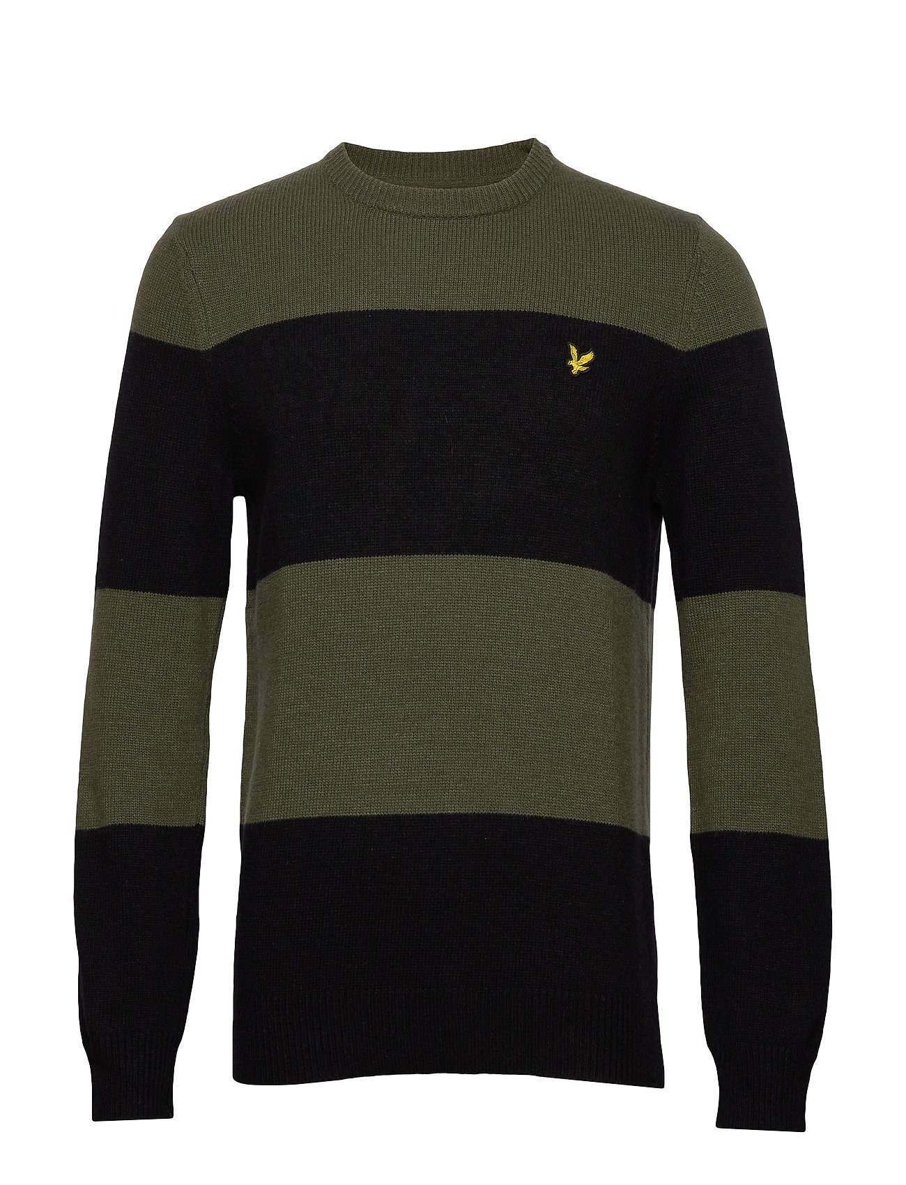 Lyle & Scott Wide Stripe Knitted Jumper - TRUE BLACK/OLIVE