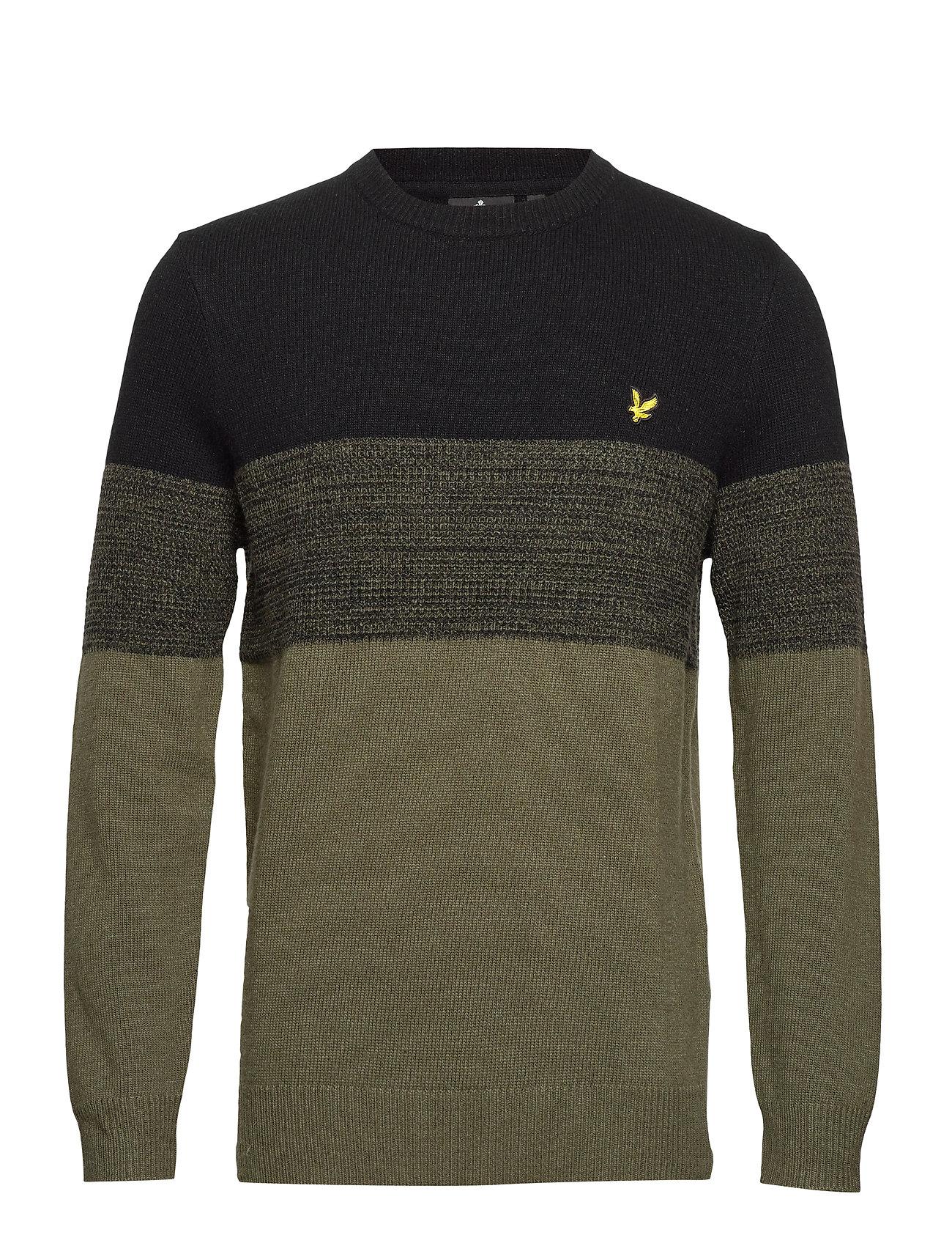 Lyle & Scott Chest Panel Knitted Jumper - TRUE BLACK/OLIVE