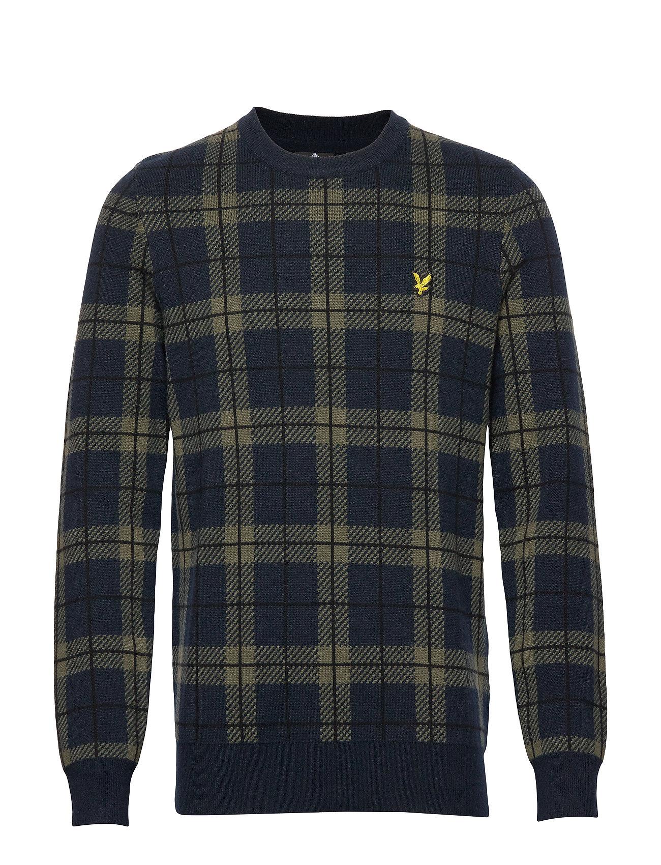 Lyle & Scott Check Knitted Jumper - DARK NAVY/OLIVE TARTAN