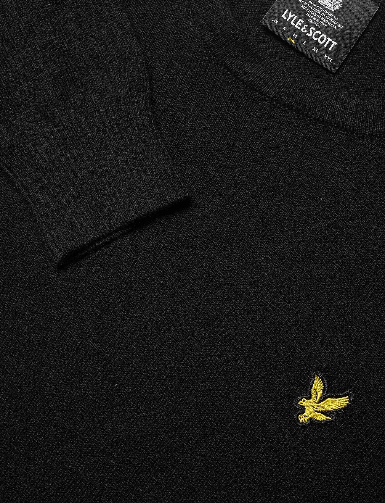 Lyle & Scott Cotton Merino Crew Jumper - Strikkevarer JET BLACK - Menn Klær