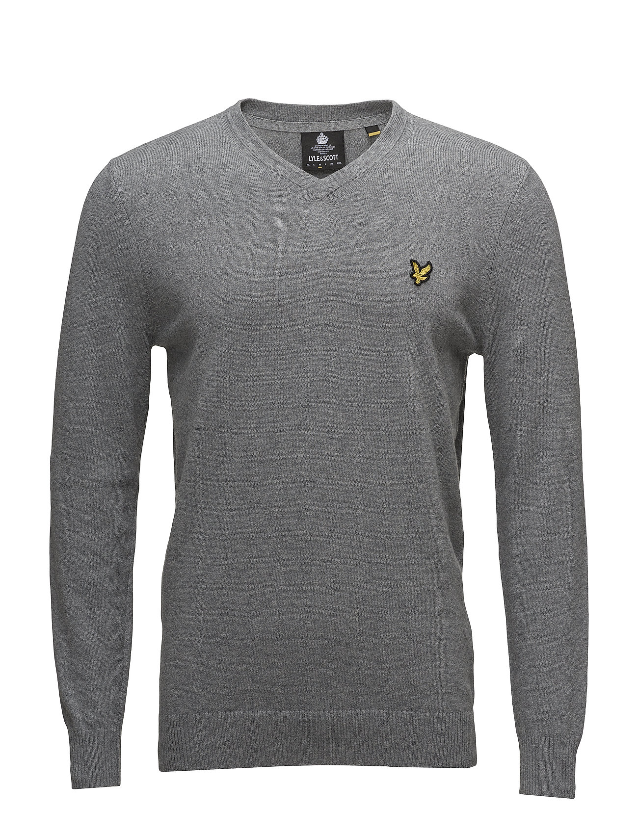 Lyle & Scott Cotton Merino V Neck Jumper - MID GREY MARL