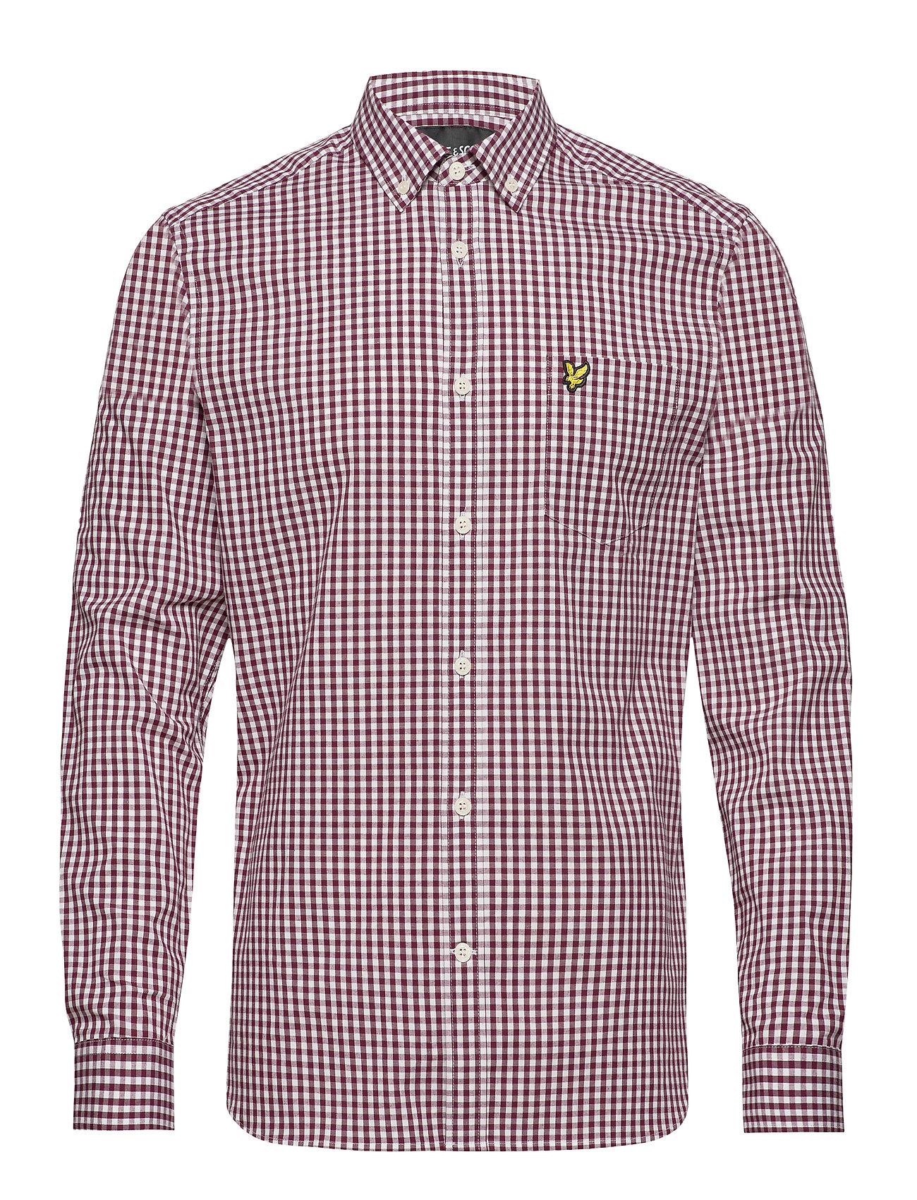 Lyle & Scott LS Slim Fit Gingham Shirt - MERLOT/WHITE