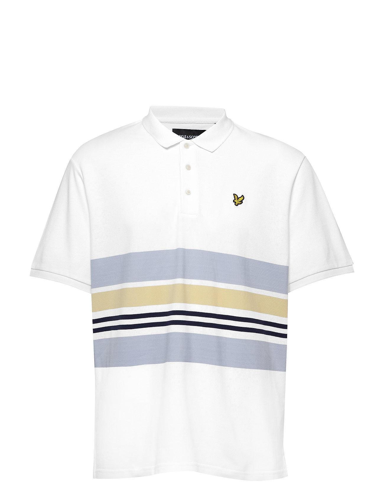 Lyle & Scott Pique Stripe Polo Shirt - WHITE