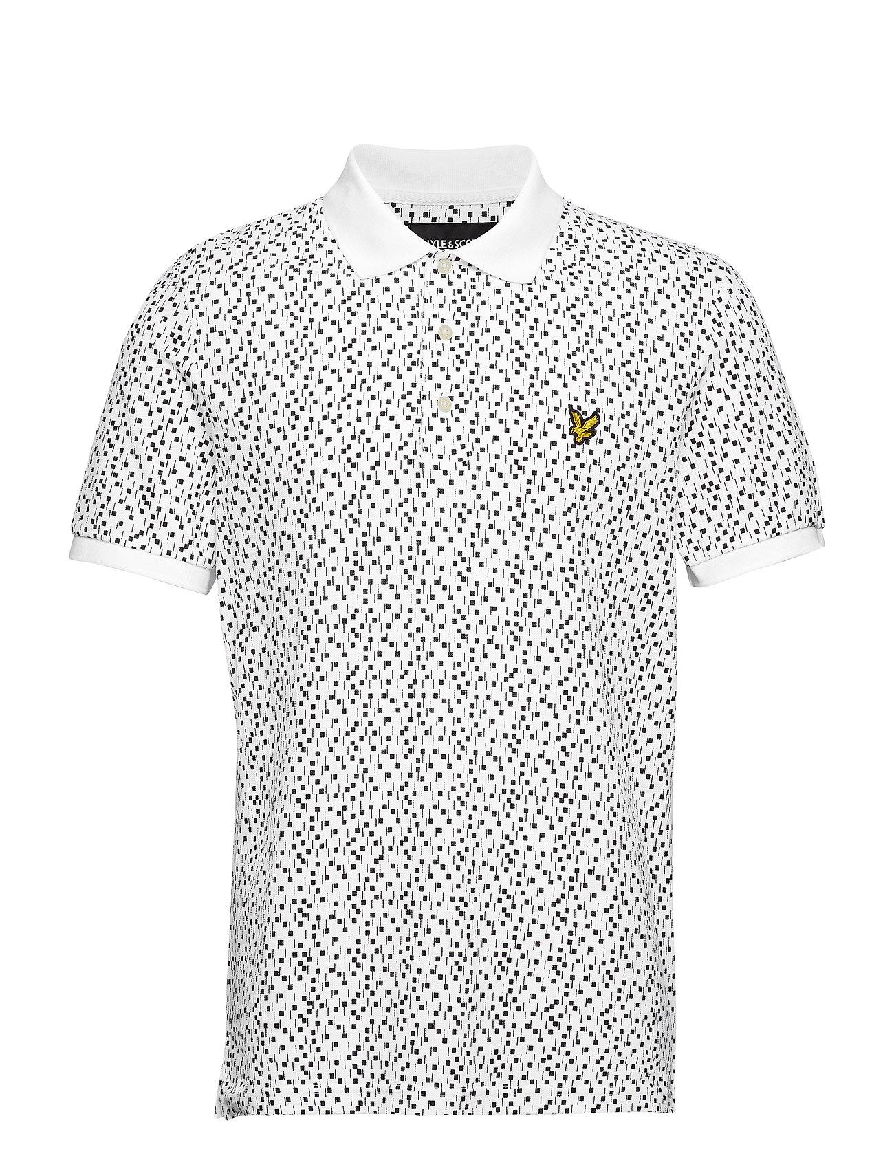 Lyle & Scott Print Polo Shirt - WHITE MICRO TILE PRINT