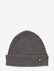 Lyle & Scott - Racked rib beanie - adītas cepures - grey - 0