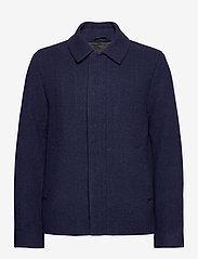 Lyle & Scott - Herringbone Wool Jacket - wool jackets - dark navy/ indigo - 0