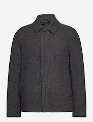 Lyle & Scott - Herringbone Wool Jacket - wool jackets - jet black/ mid grey marl - 0