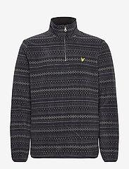 Lyle & Scott - Fairisle Fleece Half Zip - mid layer jackets - z865 jet black - 0