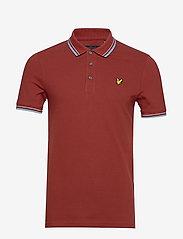 Lyle & Scott - Tipped Slim Stretch Polo Shirt - lyhythihaiset - brick red/ blue dust - 0
