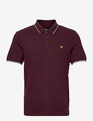 Tipped Polo Shirt - BURGUNDY/ MID GREY MARL