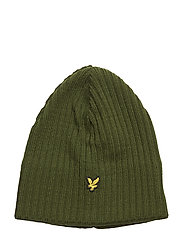 Knitted Ribbed Beanie - WOODLAND GREEN