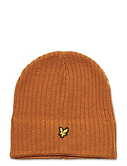 Knitted Ribbed Beanie - CARAMEL