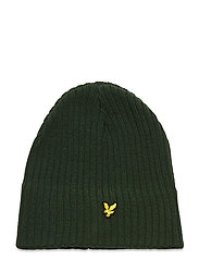 Knitted Ribbed Beanie - JADE GREEN