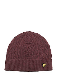Cable Beanie - CLARET MARL